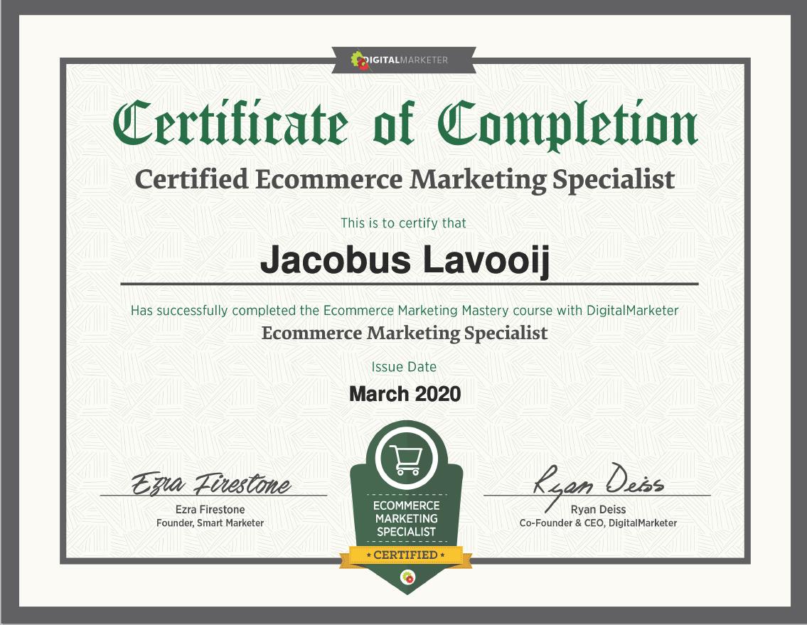 Certificate Digital Marketer - J. Lavooij